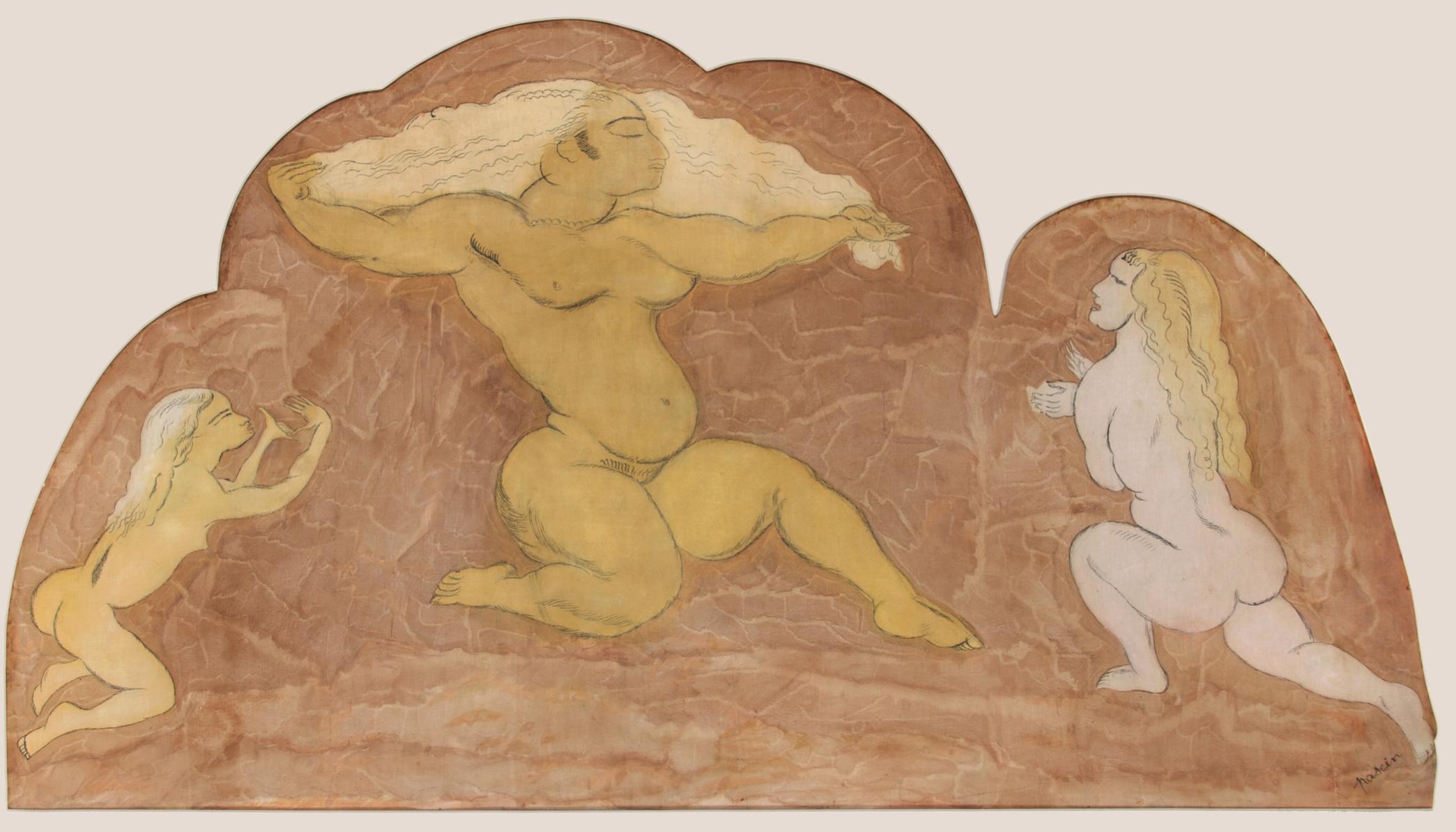 Pascin – Trois femmes dansent Paris 1925, technique mixte sur tissu, 89 x 164 cm © Archives Comité Pascin, Paris