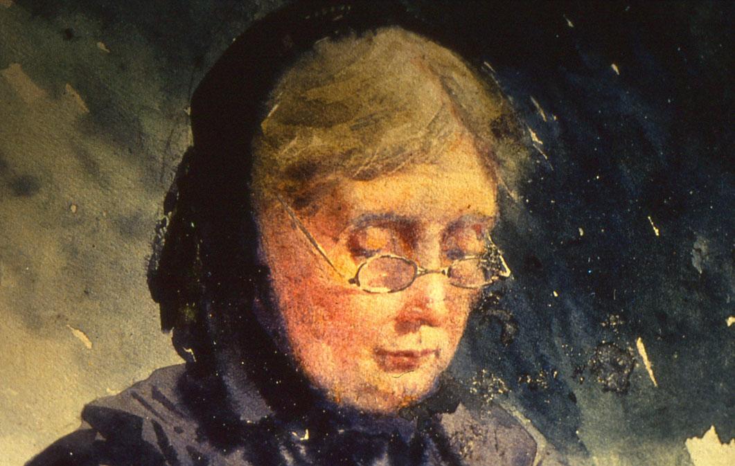 Blanche Odin - Portrait de sa mère, aquarelle sur papier, coll. part.