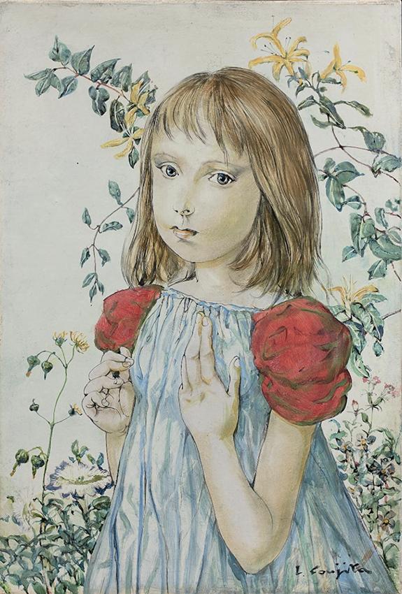Léonard Foujita Fillette au jardin, lys et liserons 1960  © Fondation Foujita, ADAGP, Paris 2020