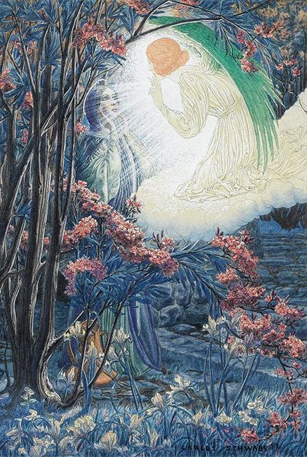 Annonciation, 1897, aquarelle et gouache sur papier, 22 x 20 cm, vendue chez Sotheby's Paris en 2015 avec certificat de Jean-David Jumeau-Lafond.