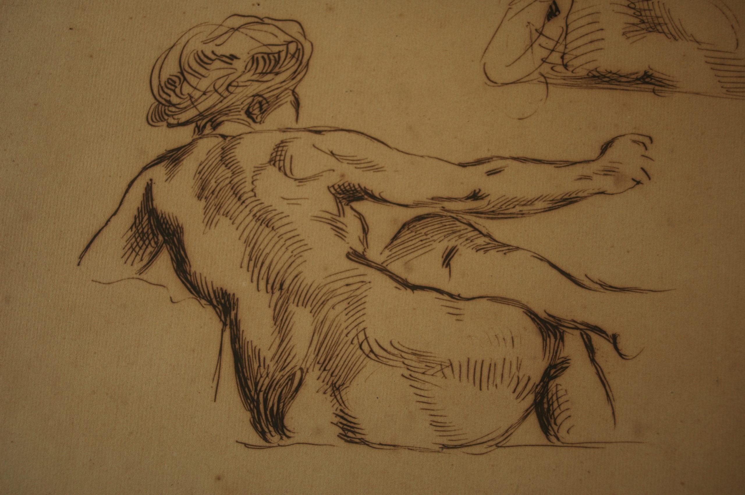 Dessin Nu Dos. Eugène Delacroix, Feuille d'étude, encre sur papier (détail), Paris, Musée du Louvre, copyright: cliché de l'expert.
