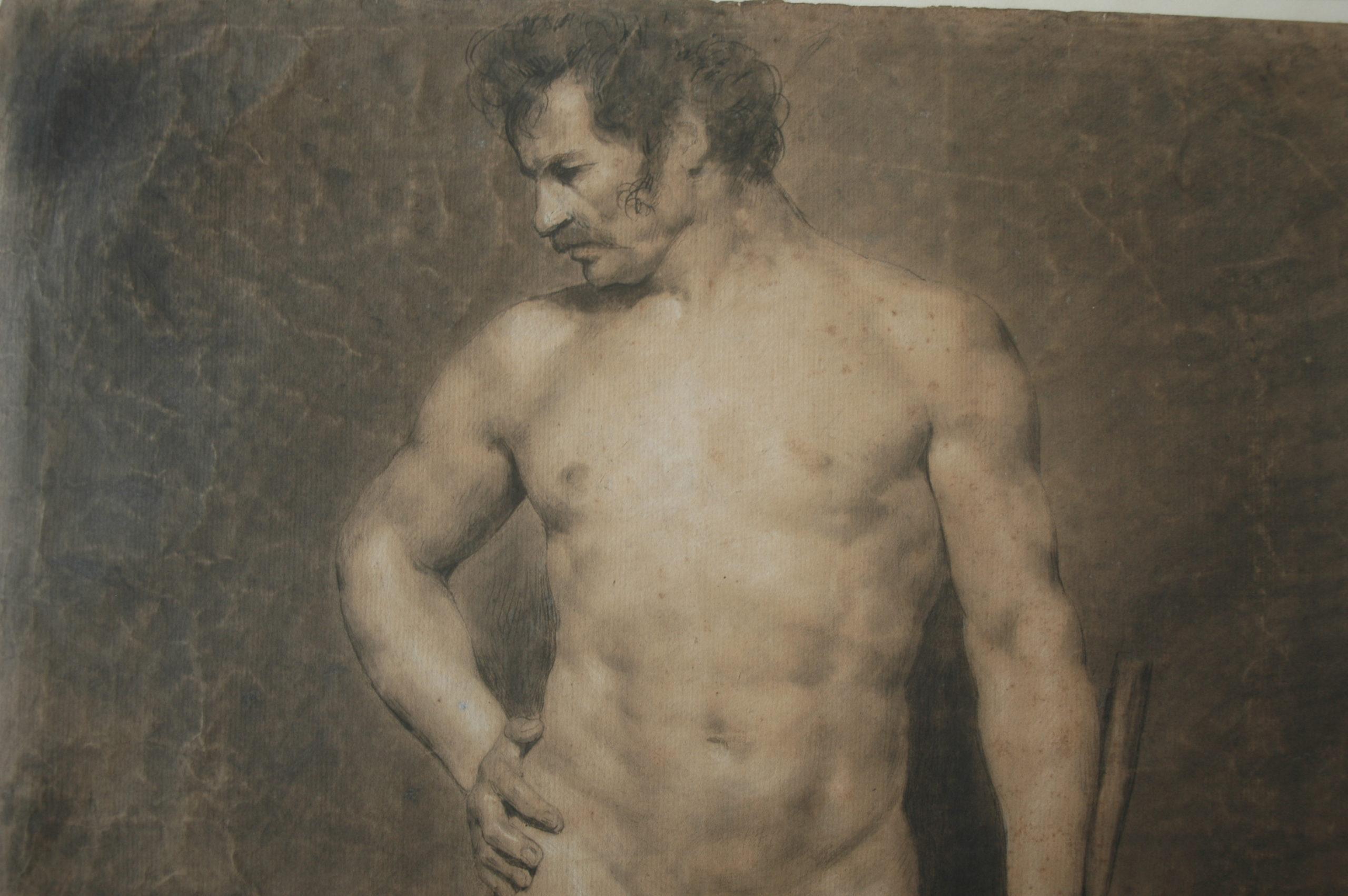 Académie d'homme, Eugène Delacroix, Feuille d'étude, 1822, fusain, estompe et rehauts de blanc (détail), Paris, Musée du Louvre, copyright: cliché de l'expert.