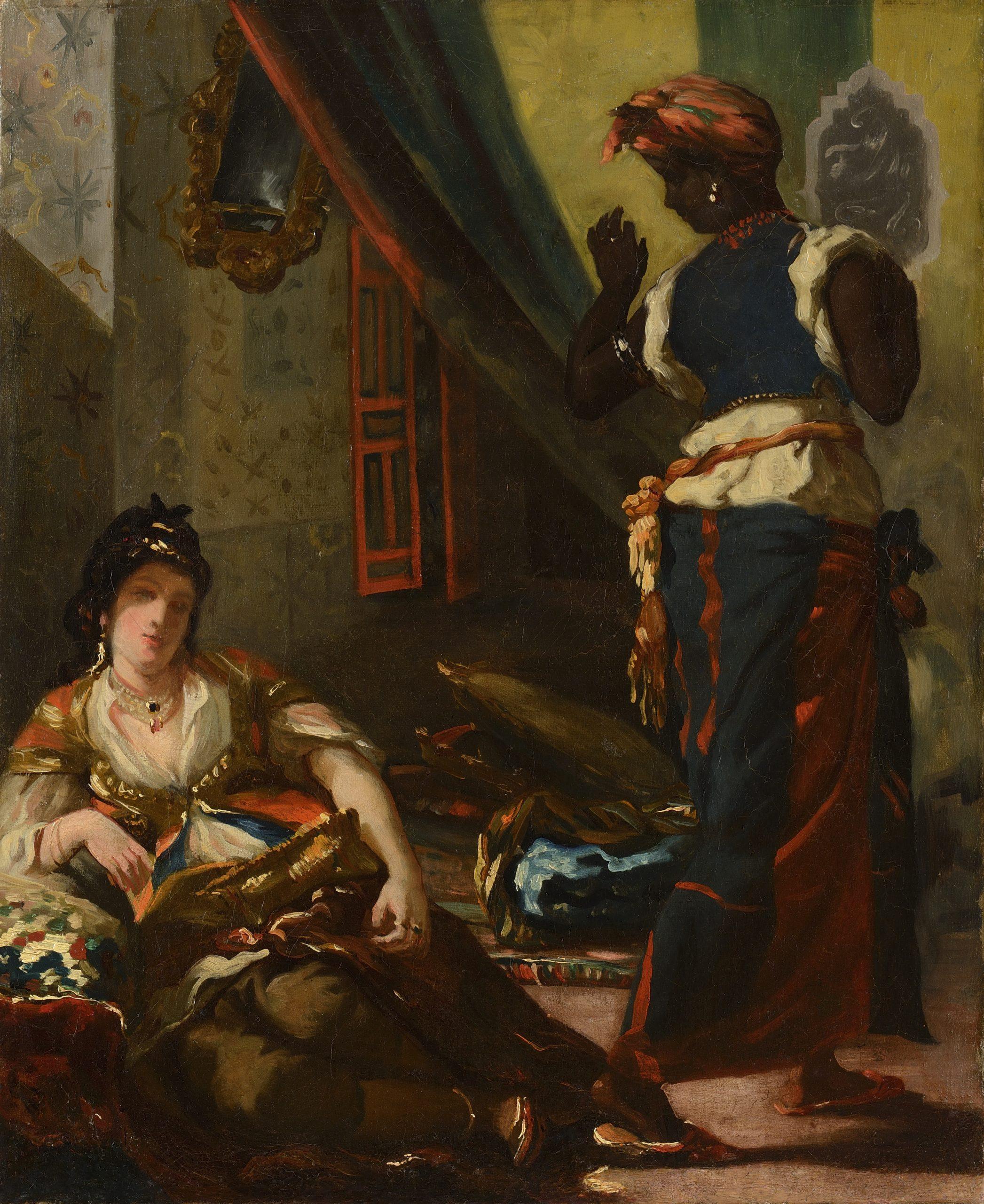 Aquarelle Femmes d'Alger. Eugène Delacroix, Feuille d'étude pour les Femmes d'Alger, 1833-1834, aquarelle, Brême, Kunsthalle, copyright: Kunsthalle de Brême.