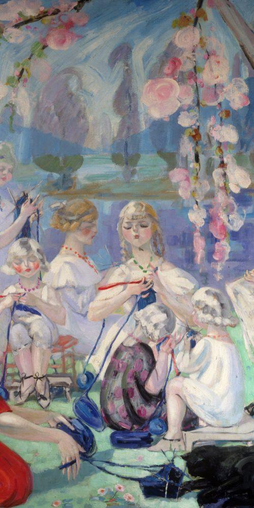 Jacqueline Marval Les Tricoteuses 1915 Huile sur toile 210 x 242 cm Coll. part.
