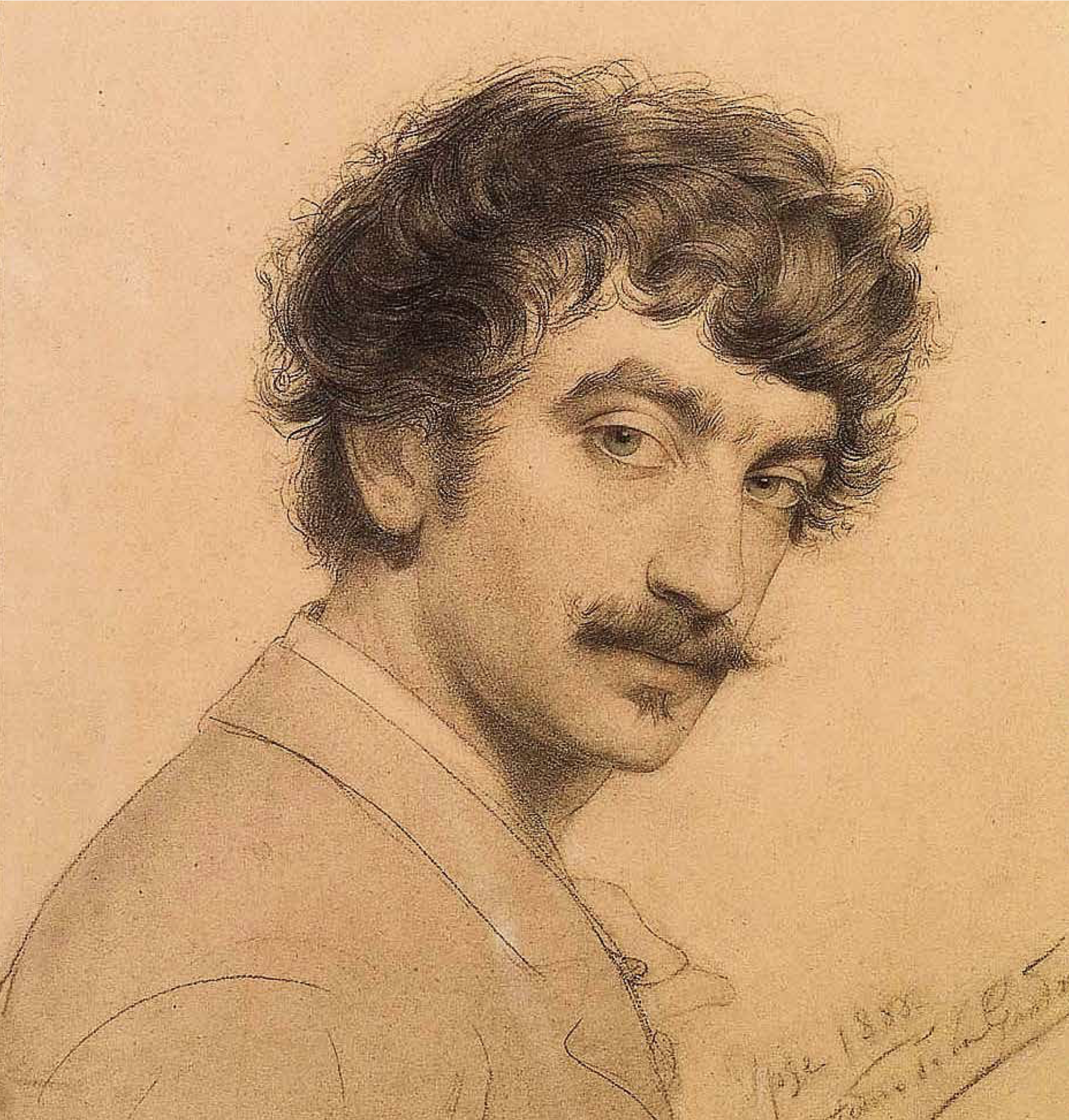 Antonio de La Gandara - Autoportrait 1888, Mine de plomb sur papier Collection Van de Velde © Archives de l'expert