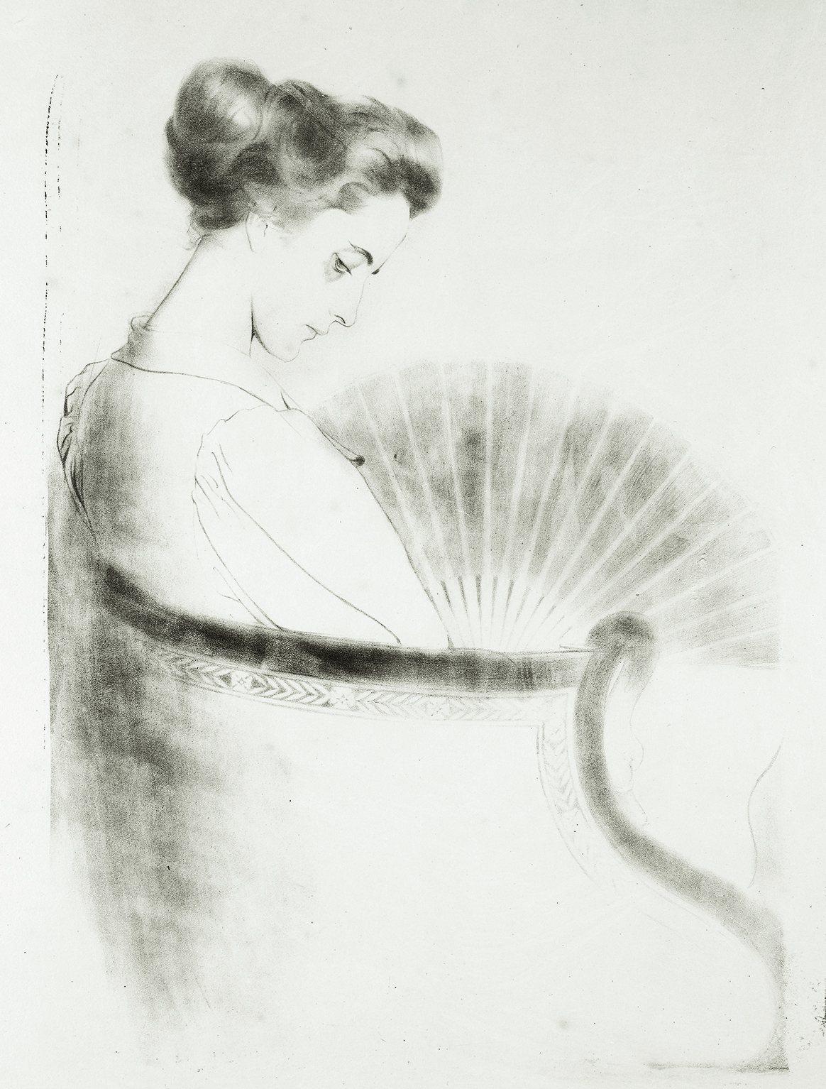 Antonio de La Gandara - Anne-Catherine à l'éventail - 1895 - Lithographie - Collection particulière et Collection Van de Velde © Archives de l'expert