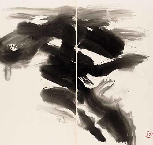 T'ang Haywen (1927-1991), sans titre, détail, c.1970, encre, diptyque sur carton Kyro,70x100cm.