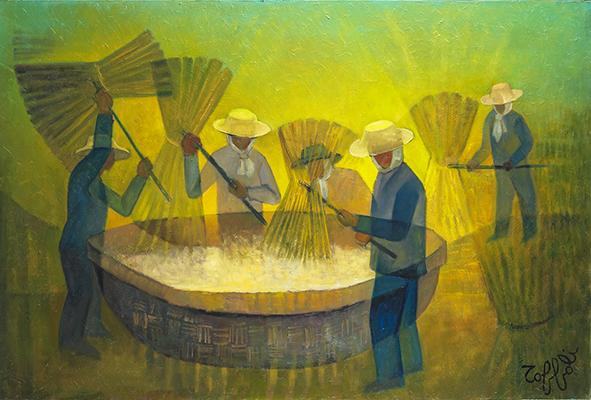 Louis Toffoli - Batteurs de riz 1982 - 130x195cm