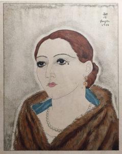 """Foujita 1927 """"Youki à la fourrure"""" Héliogravure rehaussée © A.A., Paris 2021"""