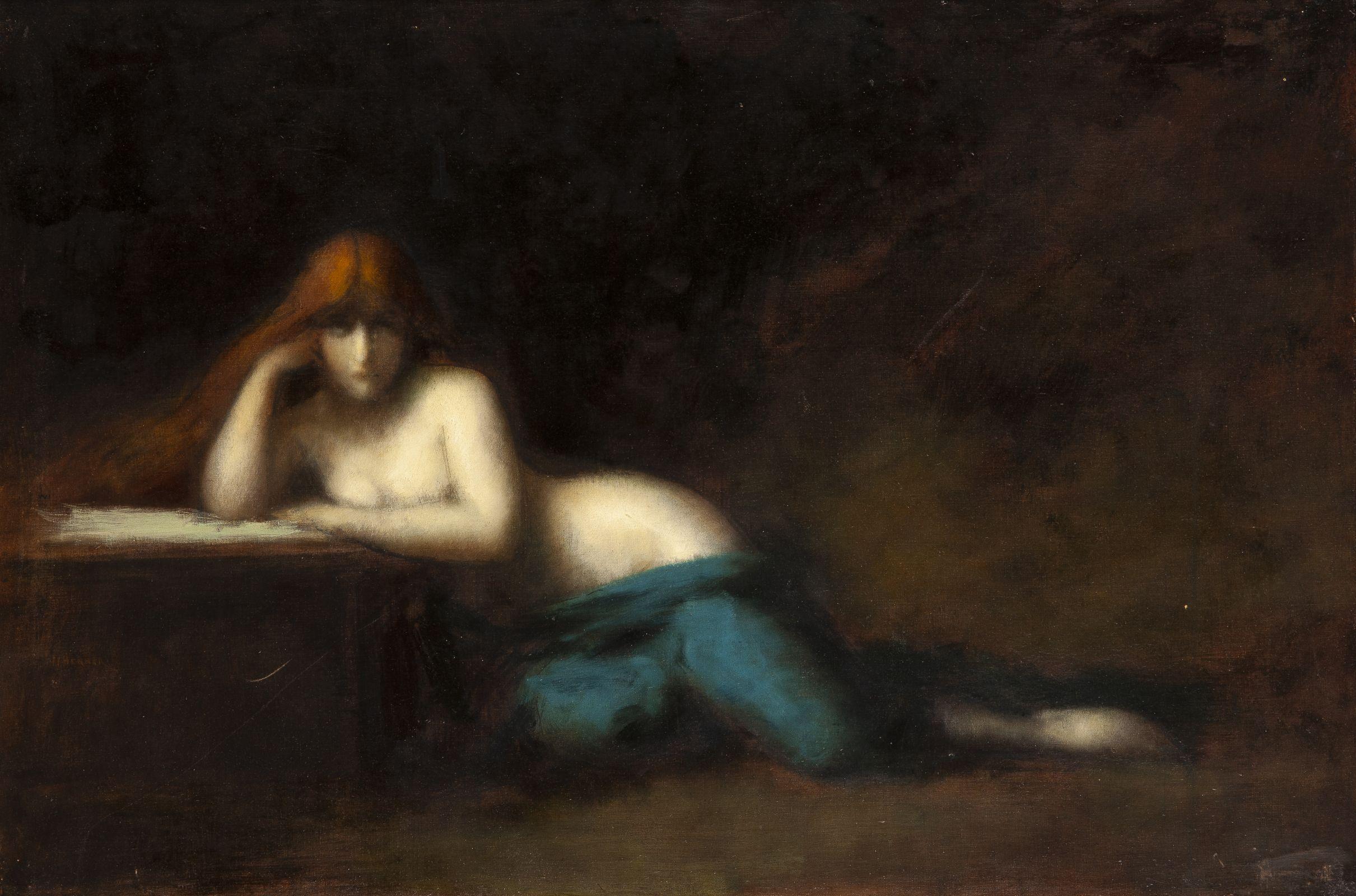 Jean-Jacques Henner, Liseuse. Réplique tardive, vers 1890, huile sur toile, collection particulière © archives de l'expert