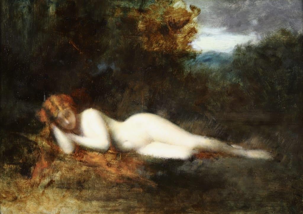Jean-Jacques Henner, Nymphe endormie, 1903, huile sur toile, collection particulière © archives de l'expert