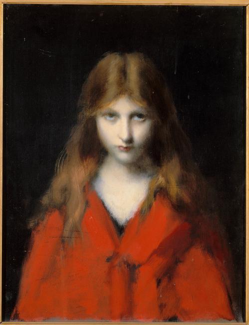 Jean-Jacques Henner, Portrait de Mlle Dodey à la robe rouge, 1893, huile sur toile, Paris, musée national Jean-Jacques Henner. Photo © RMN-Grand Palais / Michèle Bellot / Gérard Blot