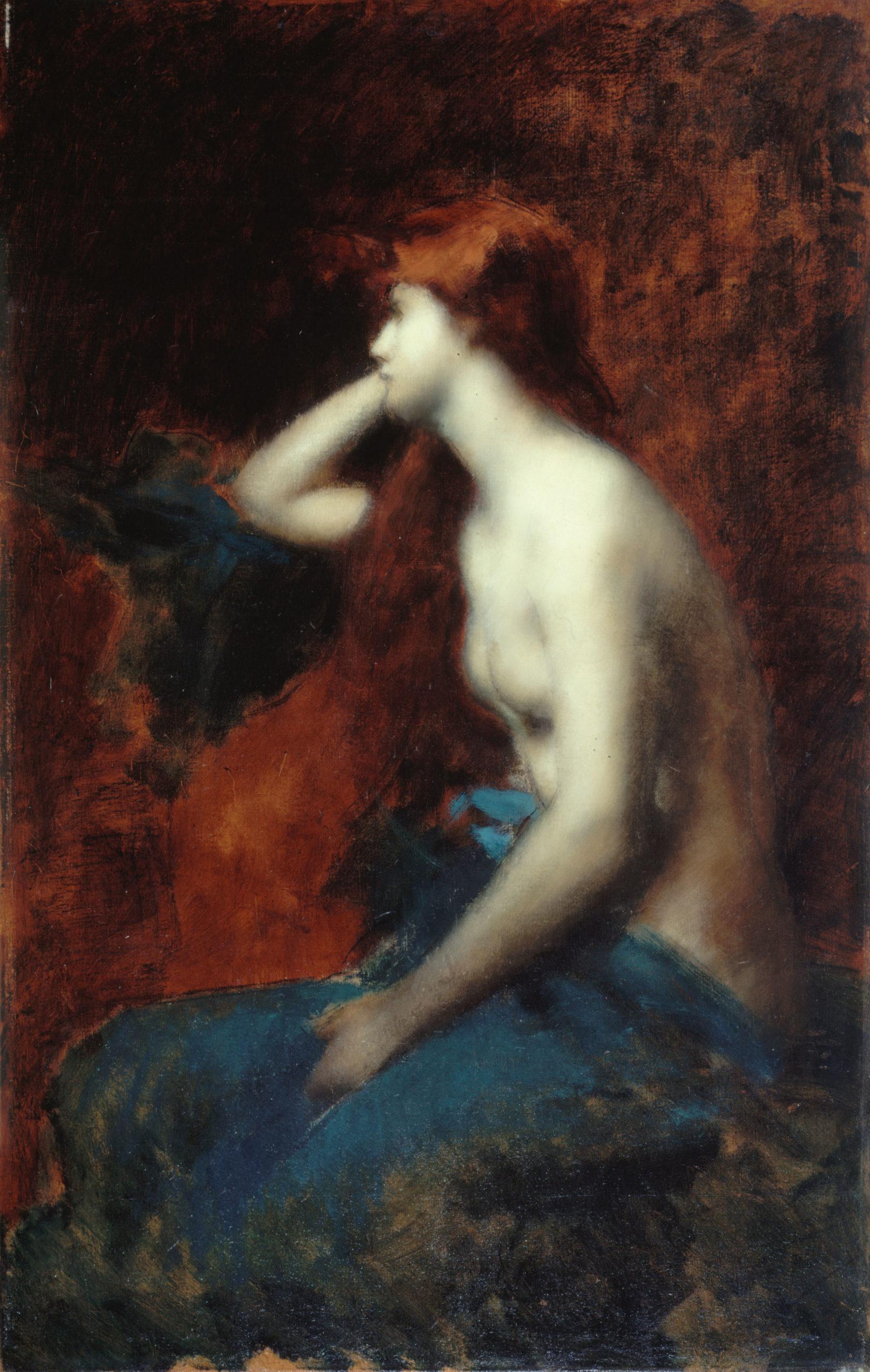 Jean-Jacques Henner, Rêverie, 1904-1905, huile sur toile, Paris, Petit Palais, musée des Beaux-Arts de la Ville de Paris. Photo CC0 Paris Musées / Petit Palais